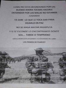 Este fue el panfleto entregado a Juan Carlos Montaña por la persona que lo abordó mientras montaba en bicicleta.
