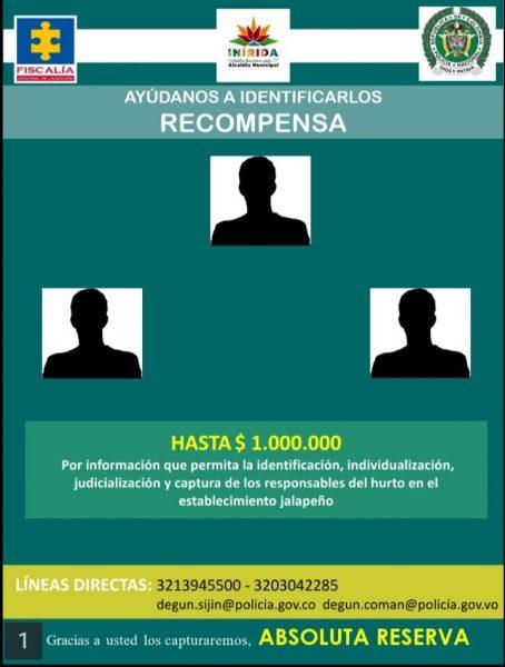 Un millón de recompensa por información sobre hurto en Inírida - Noticias de Colombia